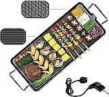 Tischgrill Elektrisch - 1500W Barbecue Elektrogrill BBQ Tisch Grill - Indoor XXL Teppanyaki Grill Platte - Temperaturregler, antihaftbeschichtete Grillplatte, regelbares Thermostat-Grillfläche 67x30cm